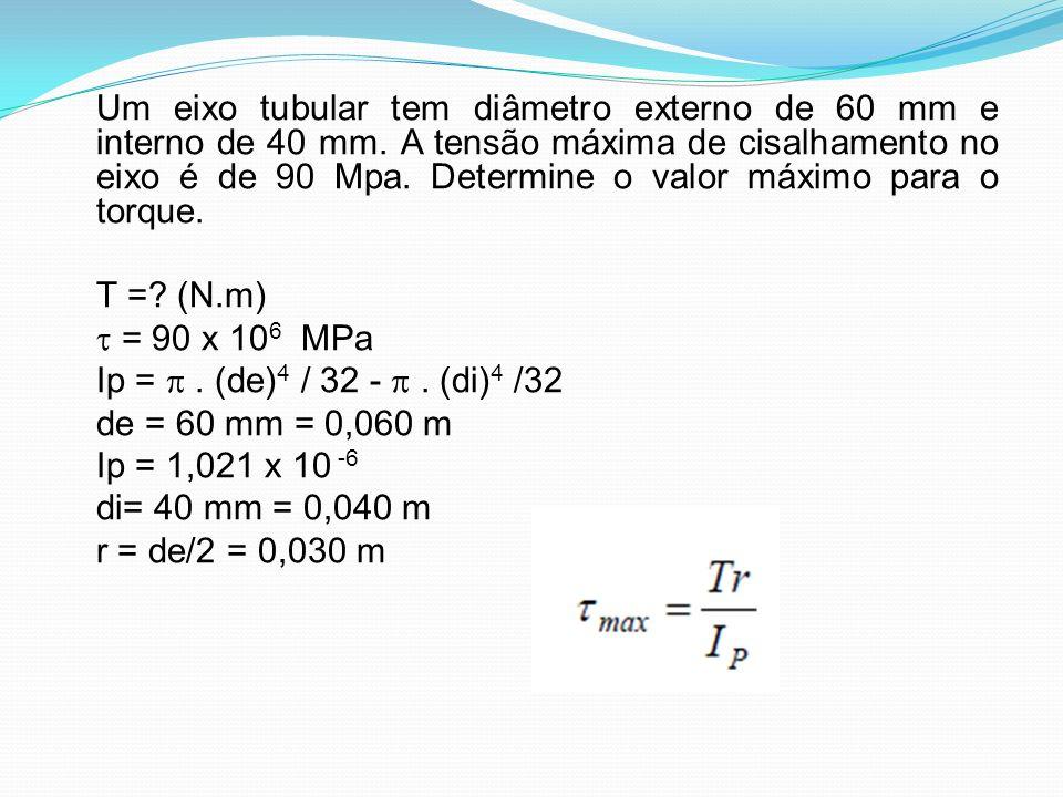 T = (N.m)  = 90 x 106 MPa Ip =  . (de)4 / 32 -  . (di)4 /32
