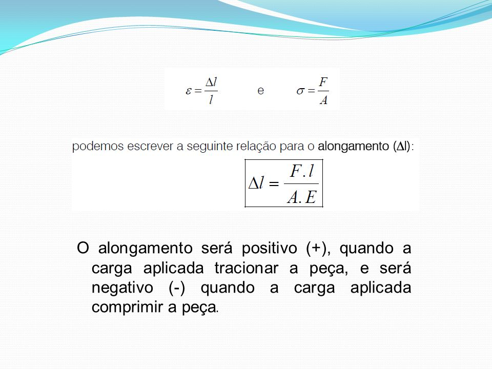 O alongamento será positivo (+), quando a carga aplicada tracionar a peça, e será negativo (-) quando a carga aplicada comprimir a peça.