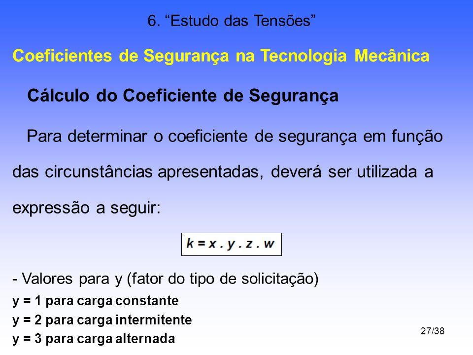 Cálculo do Coeficiente de Segurança