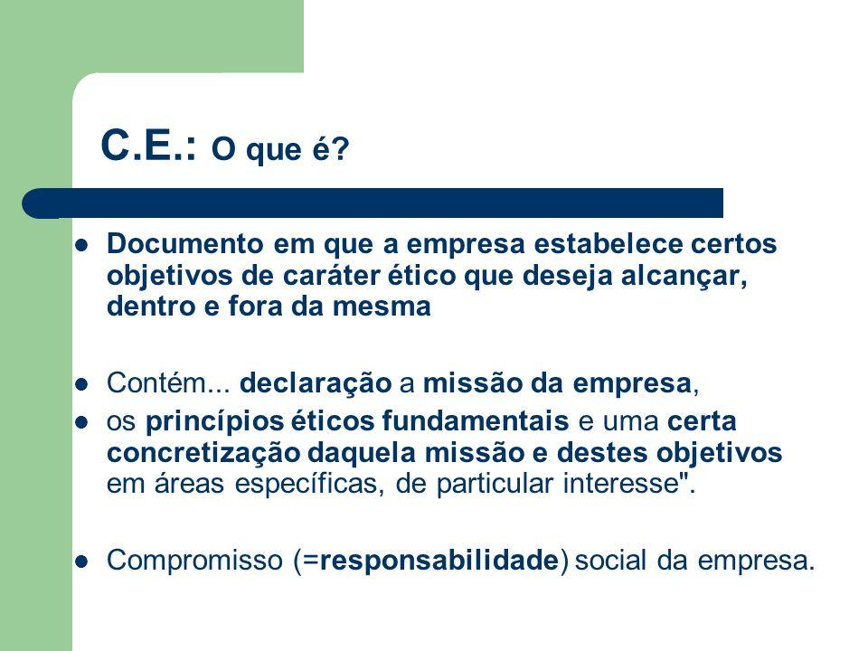 C.E.: O que é Documento em que a empresa estabelece certos objetivos de caráter ético que deseja alcançar, dentro e fora da mesma.
