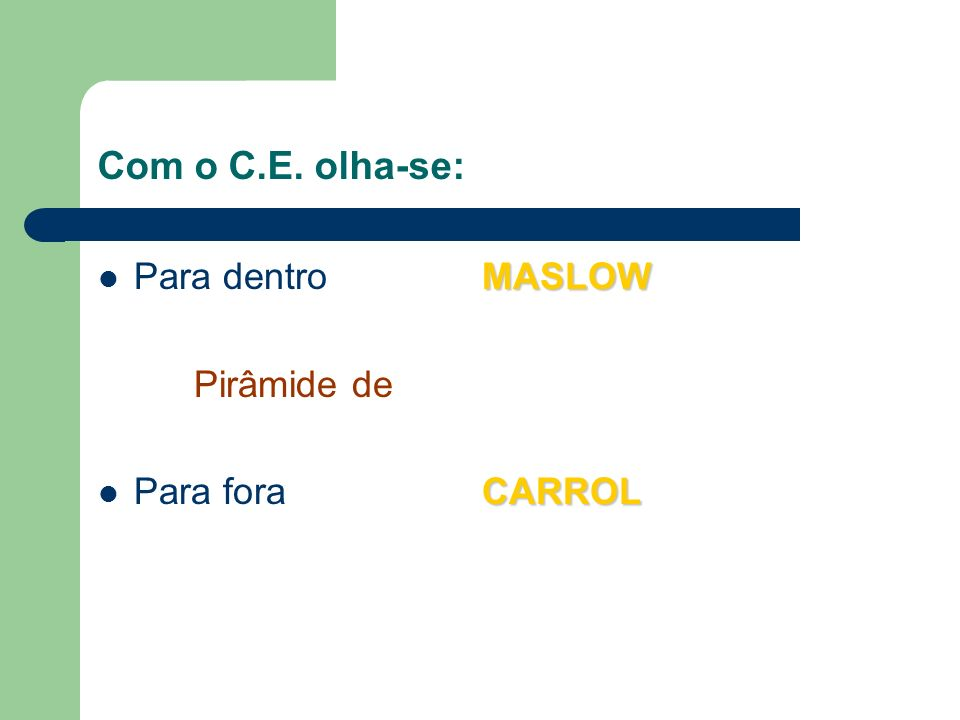 Com o C.E. olha-se: Para dentro MASLOW Pirâmide de Para fora CARROL