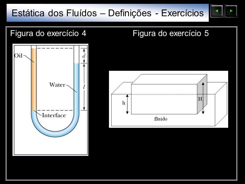 Estática dos Fluídos – Definições - Exercícios