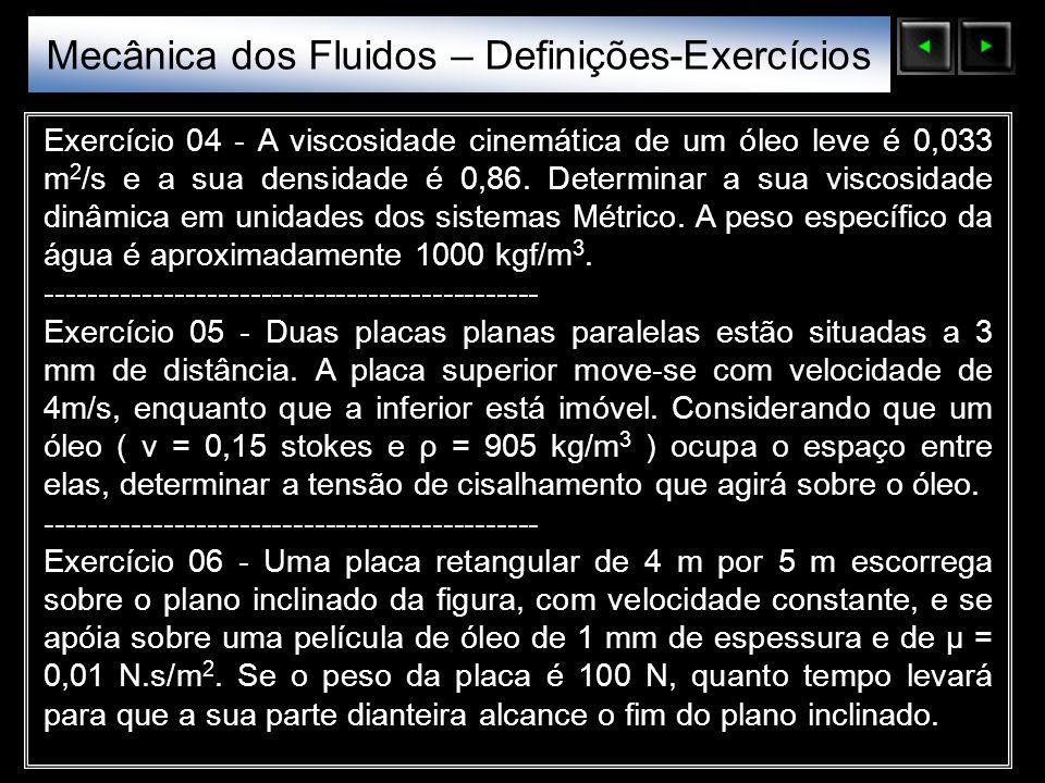Mecânica dos Fluidos – Definições-Exercícios