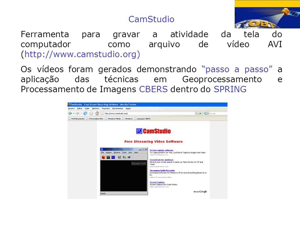CamStudio Ferramenta para gravar a atividade da tela do computador como arquivo de vídeo AVI (http://www.camstudio.org)