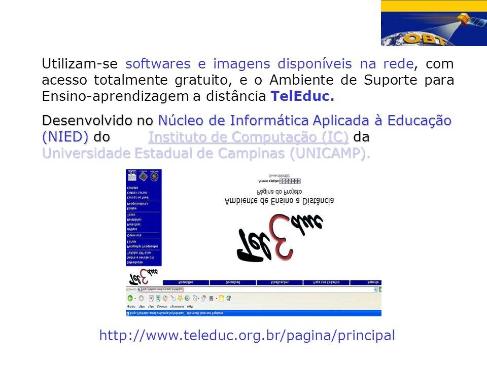 Utilizam-se softwares e imagens disponíveis na rede, com acesso totalmente gratuito, e o Ambiente de Suporte para Ensino-aprendizagem a distância TelEduc.