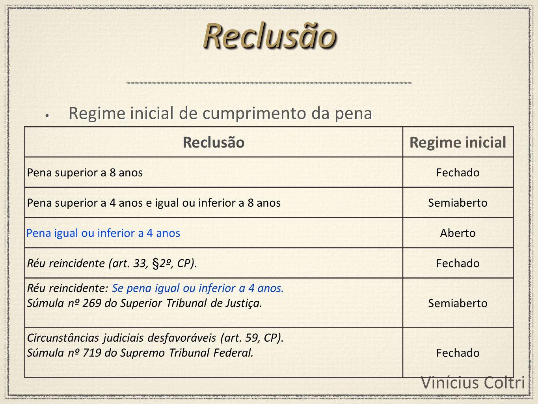 Reclusão Regime inicial de cumprimento da pena Reclusão Regime inicial