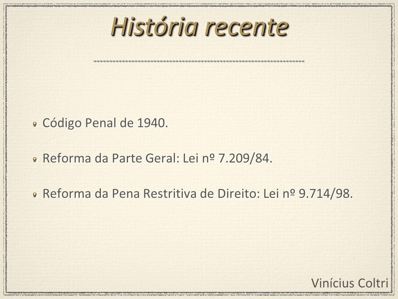 História recente Código Penal de 1940.