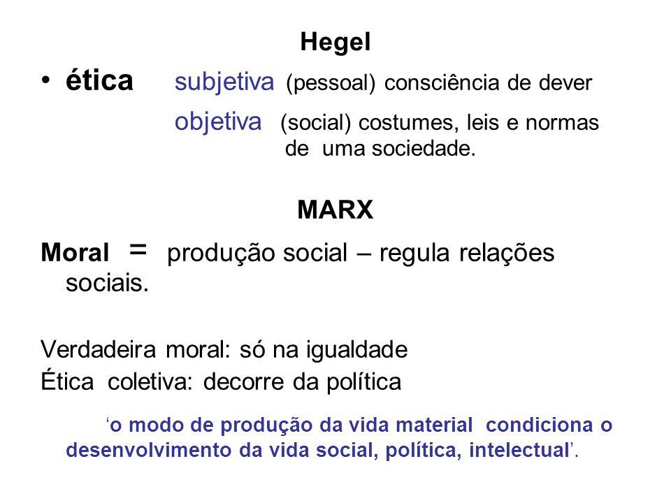 Hegel ética subjetiva (pessoal) consciência de dever. objetiva (social) costumes, leis e normas de uma sociedade.
