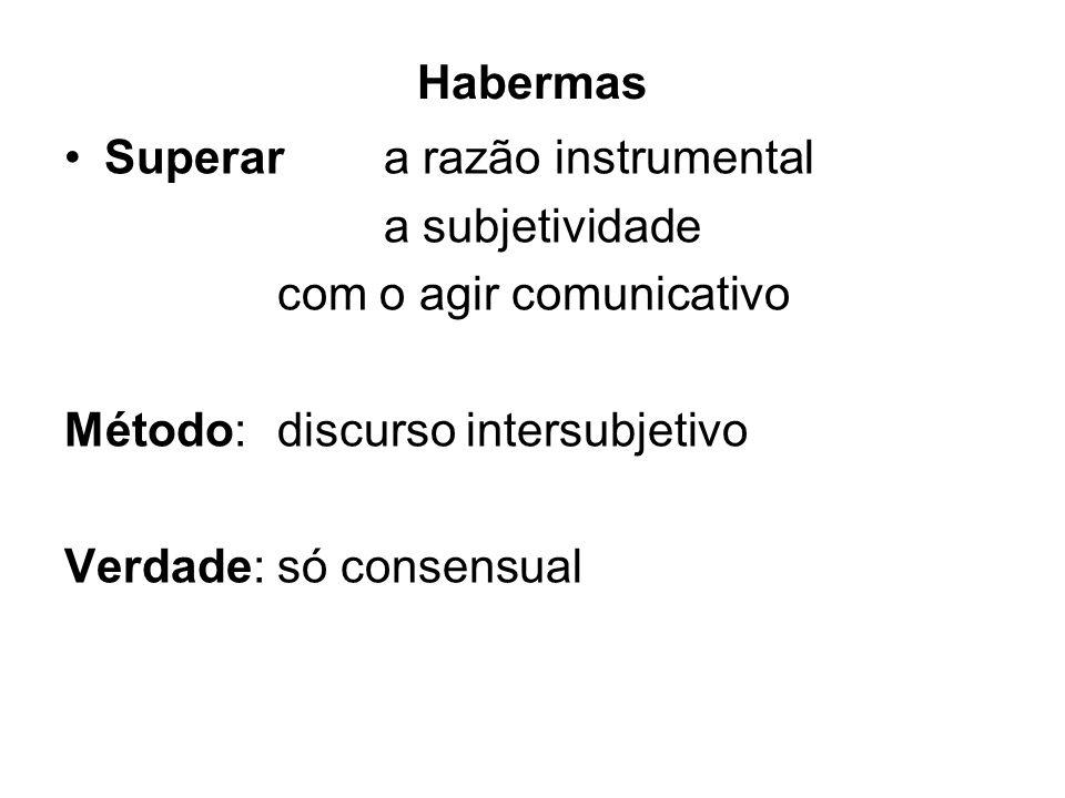 Habermas Superar a razão instrumental. a subjetividade. com o agir comunicativo. Método: discurso intersubjetivo.