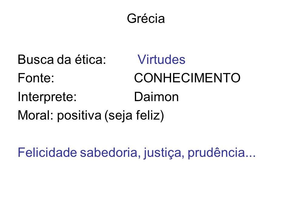 Grécia Busca da ética: Virtudes. Fonte: CONHECIMENTO. Interprete: Daimon. Moral: positiva (seja feliz)