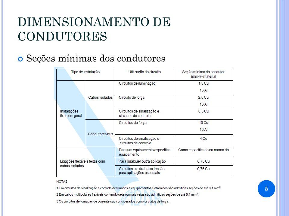 DIMENSIONAMENTO DE CONDUTORES