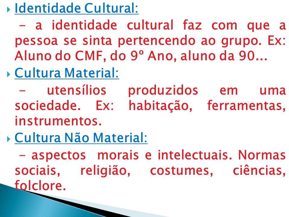 Identidade Cultural: - a identidade cultural faz com que a pessoa se sinta pertencendo ao grupo. Ex: Aluno do CMF, do 9º Ano, aluno da 90...
