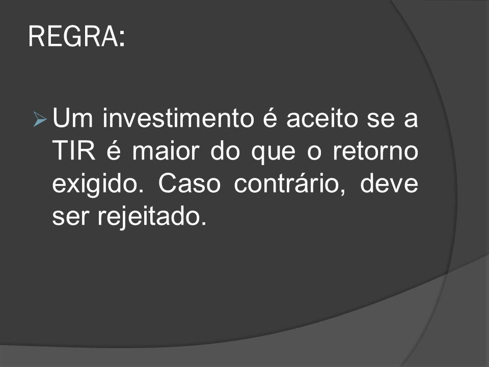 REGRA:Um investimento é aceito se a TIR é maior do que o retorno exigido.