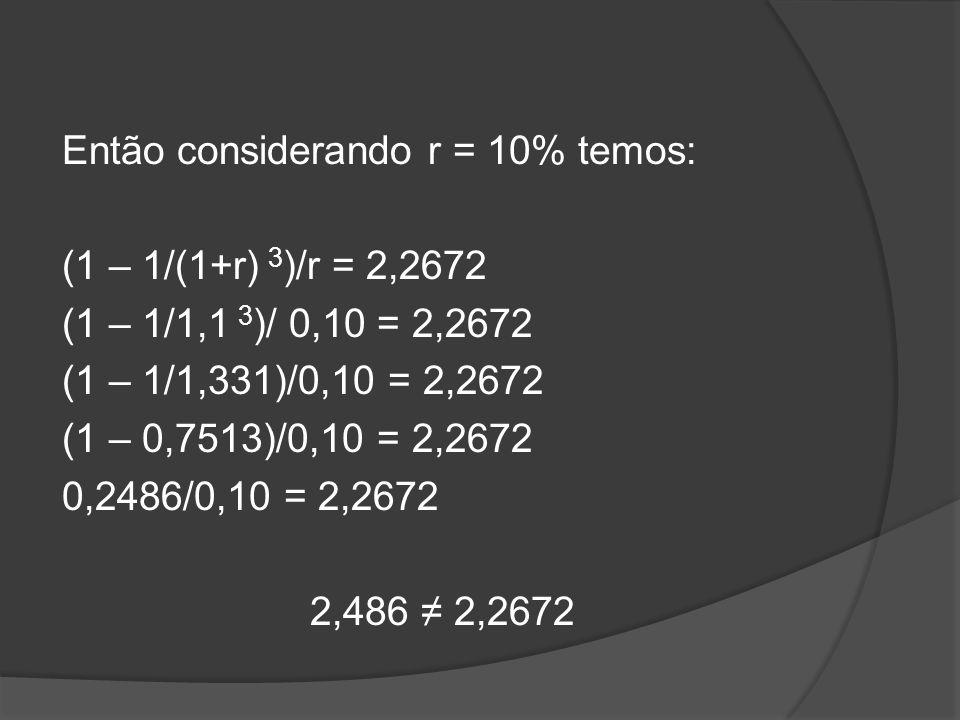 Então considerando r = 10% temos: (1 – 1/(1+r) 3)/r = 2,2672 (1 – 1/1,1 3)/ 0,10 = 2,2672 (1 – 1/1,331)/0,10 = 2,2672 (1 – 0,7513)/0,10 = 2,2672 0,2486/0,10 = 2,2672 2,486 ≠ 2,2672