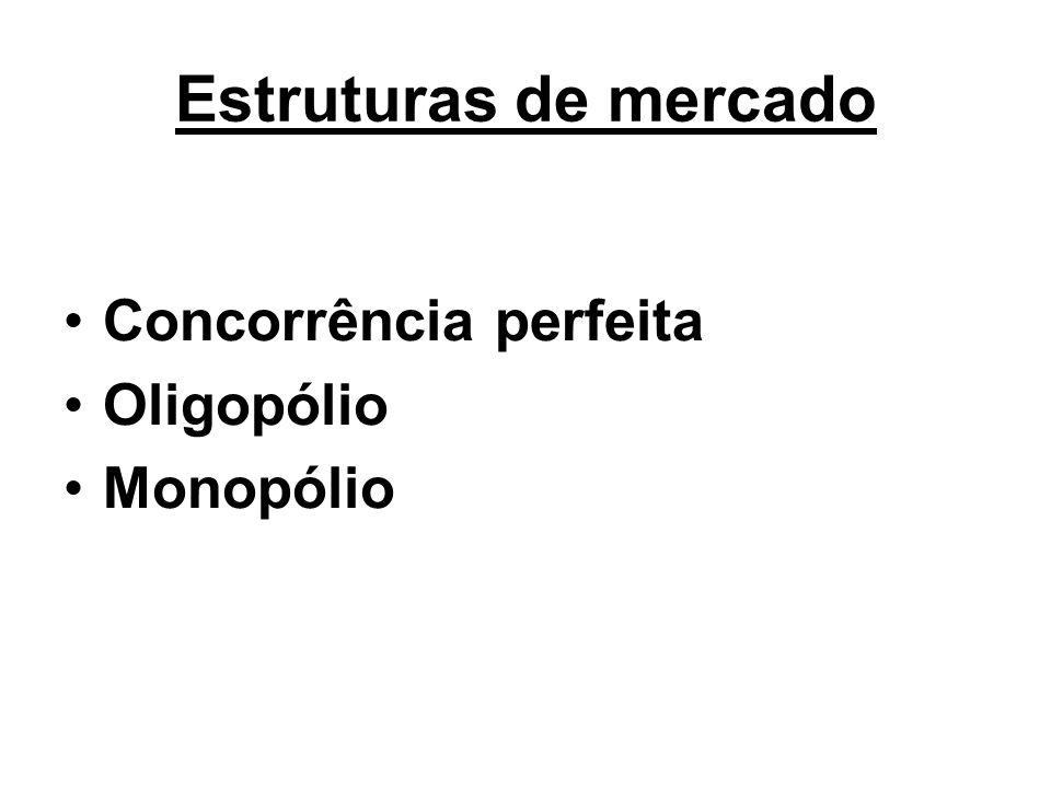 Estruturas de mercado Concorrência perfeita Oligopólio Monopólio