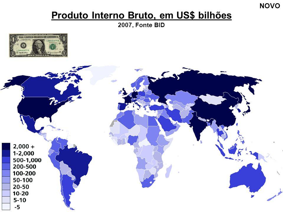 Produto Interno Bruto, em US$ bilhões 2007, Fonte BID