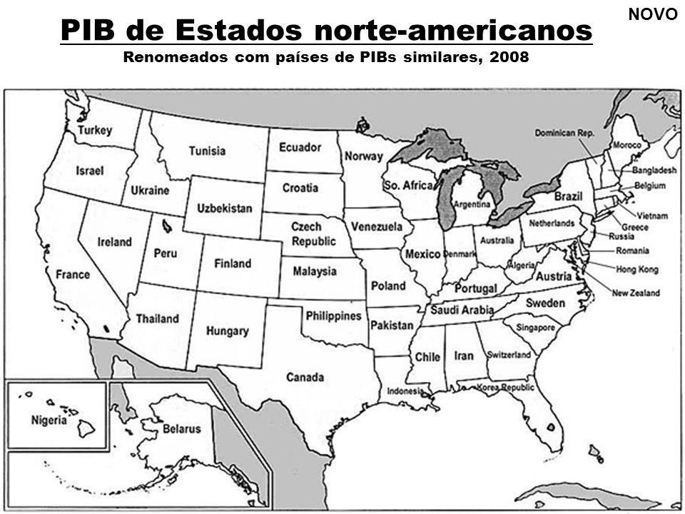 PIB de Estados norte-americanos Renomeados com países de PIBs similares, 2008