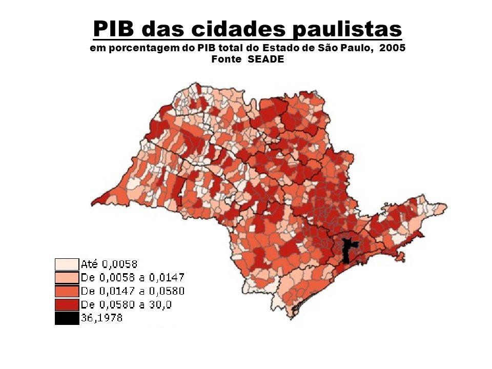 PIB das cidades paulistas em porcentagem do PIB total do Estado de São Paulo, 2005 Fonte SEADE