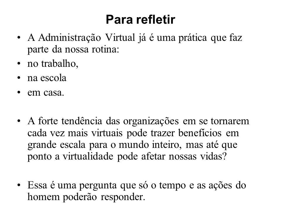 Para refletir A Administração Virtual já é uma prática que faz parte da nossa rotina: no trabalho,
