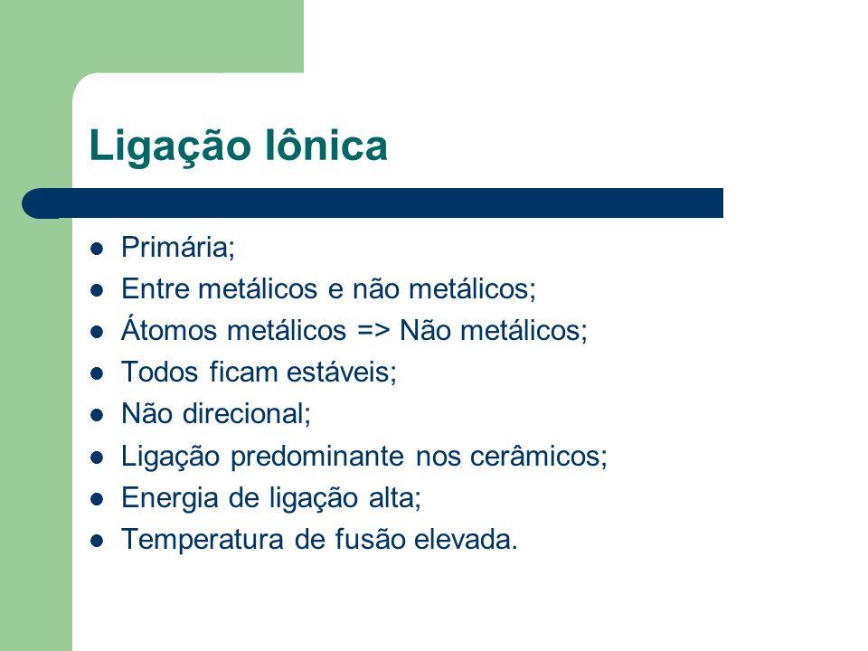 Ligação Iônica Primária; Entre metálicos e não metálicos;