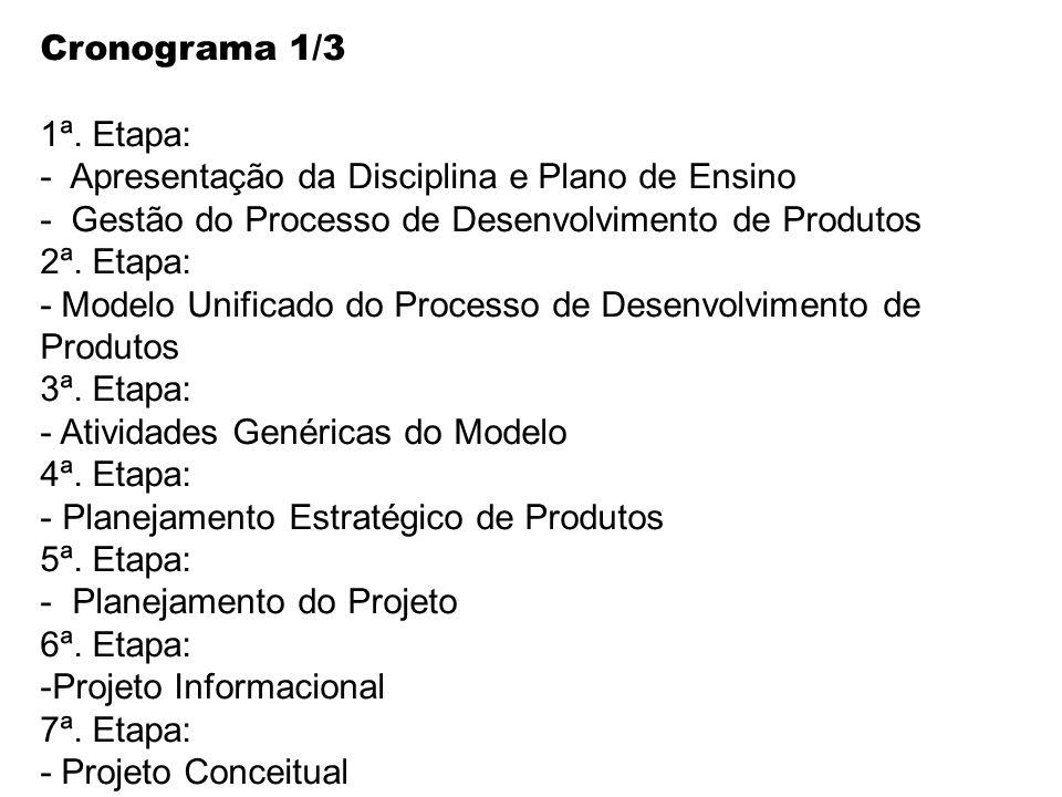 Cronograma 1/3 1ª. Etapa: - Apresentação da Disciplina e Plano de Ensino. - Gestão do Processo de Desenvolvimento de Produtos.