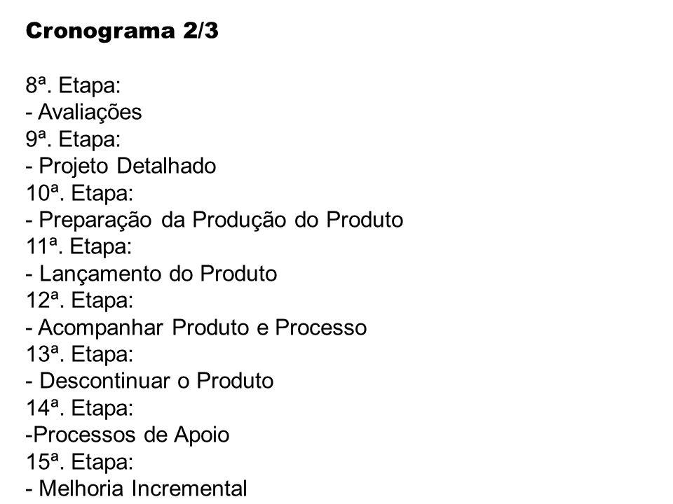 Cronograma 2/3 8ª. Etapa: Avaliações. 9ª. Etapa: - Projeto Detalhado. 10ª. Etapa: - Preparação da Produção do Produto.