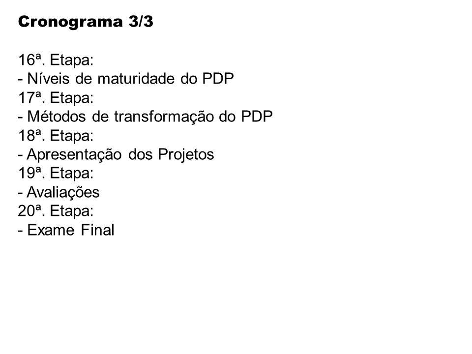 Cronograma 3/3 16ª. Etapa: - Níveis de maturidade do PDP. 17ª. Etapa: - Métodos de transformação do PDP.
