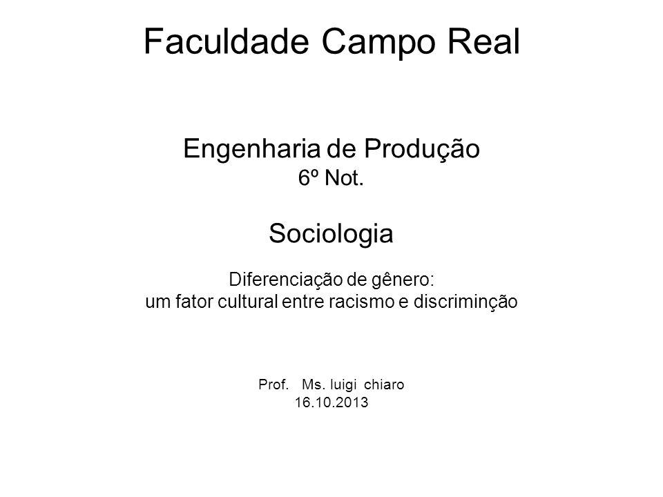 Faculdade Campo Real Engenharia de Produção Sociologia 6º Not.