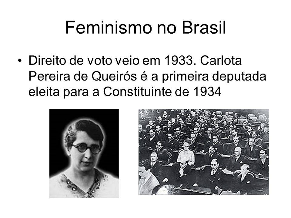 Feminismo no Brasil Direito de voto veio em 1933.