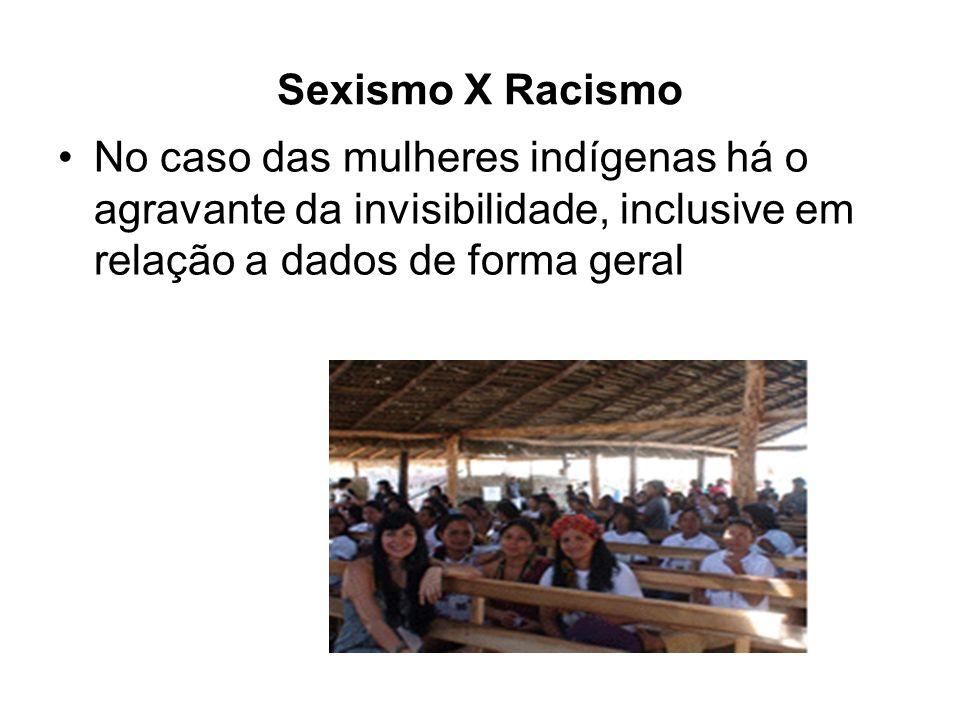 Sexismo X Racismo No caso das mulheres indígenas há o agravante da invisibilidade, inclusive em relação a dados de forma geral.