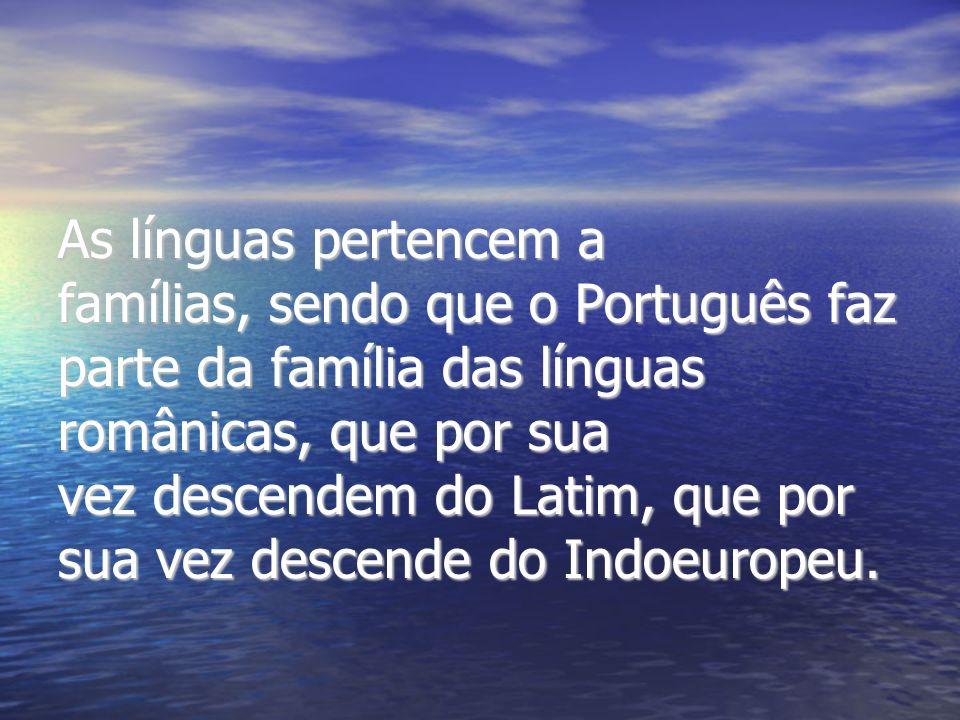 As línguas pertencem a famílias, sendo que o Português faz parte da família das línguas românicas, que por sua.
