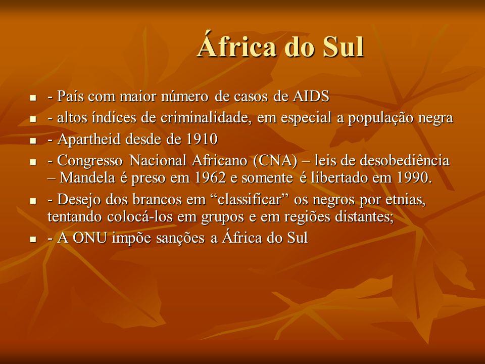 África do Sul - País com maior número de casos de AIDS