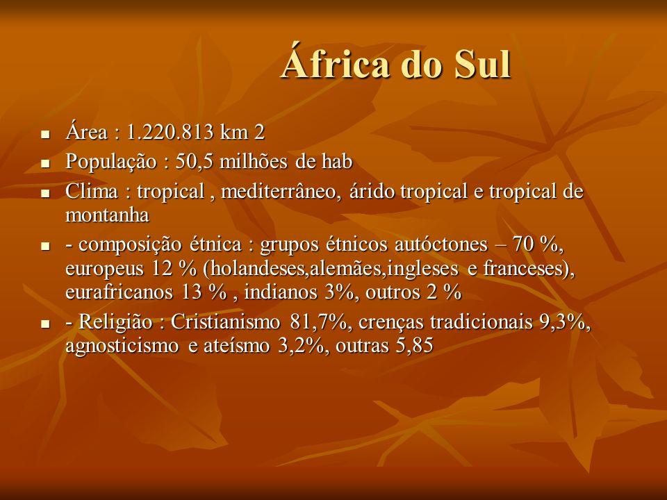 África do Sul Área : 1.220.813 km 2 População : 50,5 milhões de hab