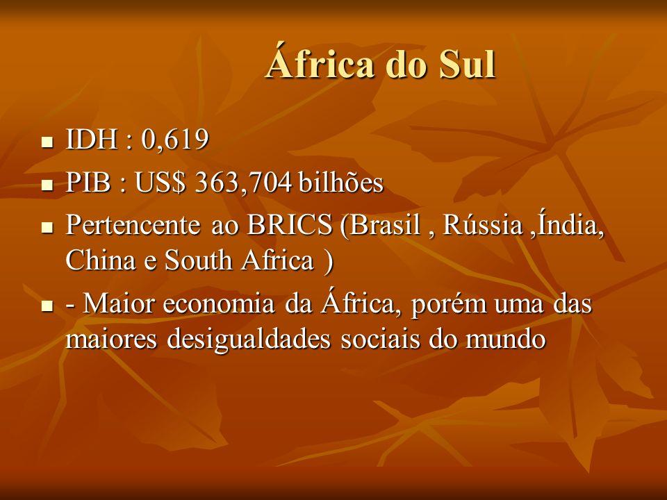 África do Sul IDH : 0,619 PIB : US$ 363,704 bilhões