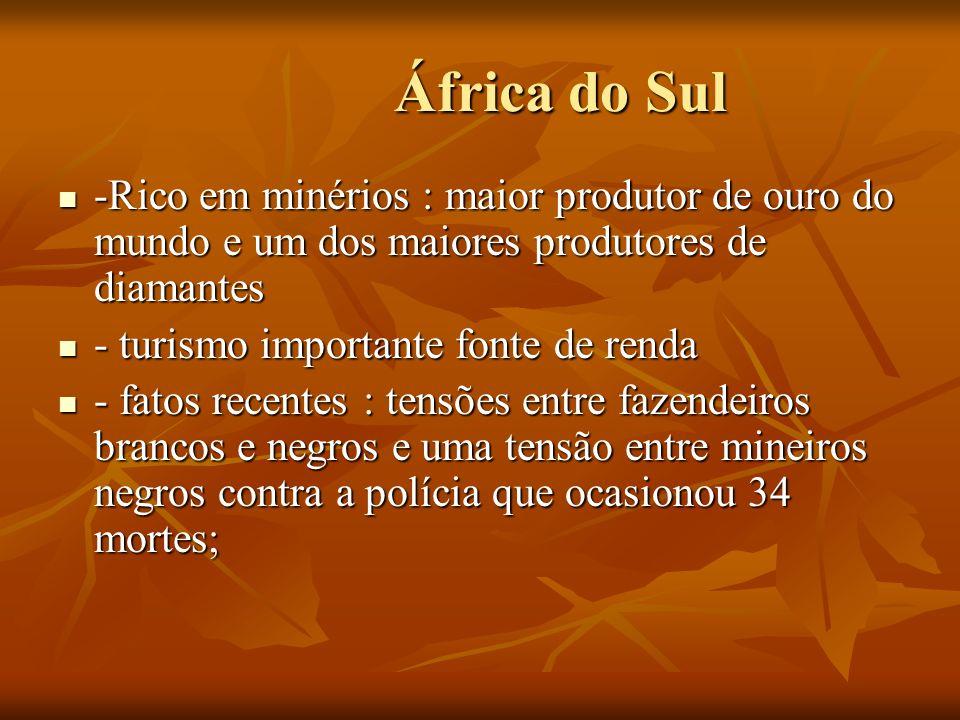 África do Sul -Rico em minérios : maior produtor de ouro do mundo e um dos maiores produtores de diamantes.