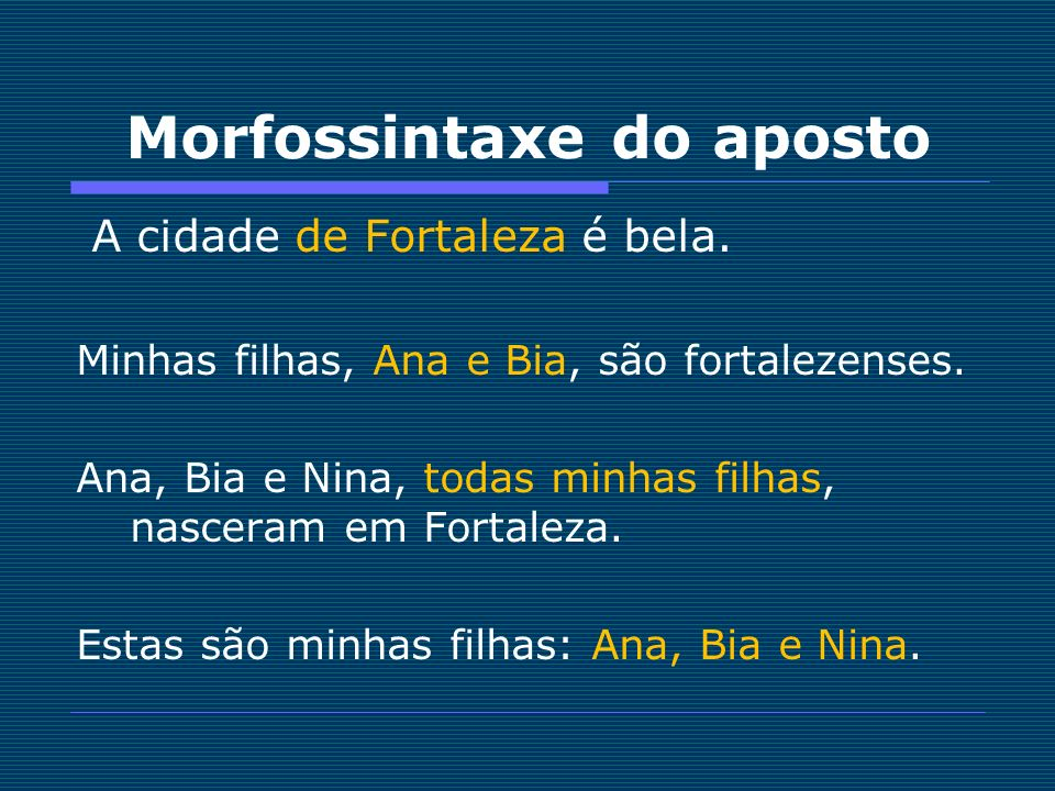 Morfossintaxe do aposto