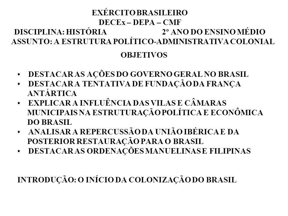 EXÉRCITO BRASILEIRO DECEx – DEPA – CMF DISCIPLINA: HISTÓRIA 2º ANO DO ENSINO MÉDIO ASSUNTO: A ESTRUTURA POLÍTICO-ADMINISTRATIVA COLONIAL