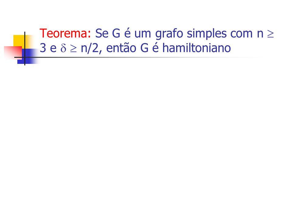 Teorema: Se G é um grafo simples com n  3 e   n/2, então G é hamiltoniano
