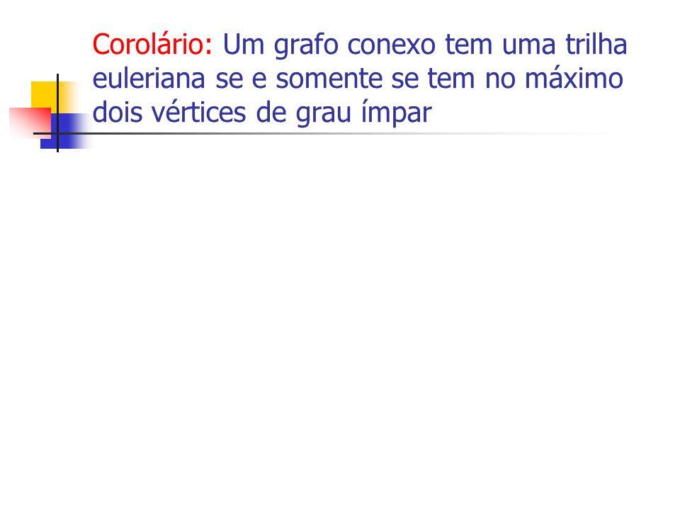 Corolário: Um grafo conexo tem uma trilha euleriana se e somente se tem no máximo dois vértices de grau ímpar