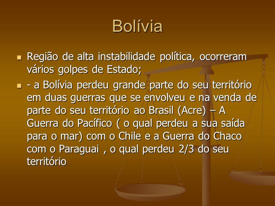 Bolívia Região de alta instabilidade política, ocorreram vários golpes de Estado;