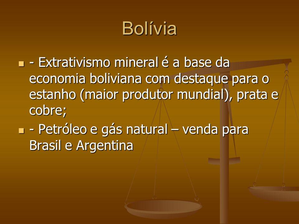 Bolívia - Extrativismo mineral é a base da economia boliviana com destaque para o estanho (maior produtor mundial), prata e cobre;