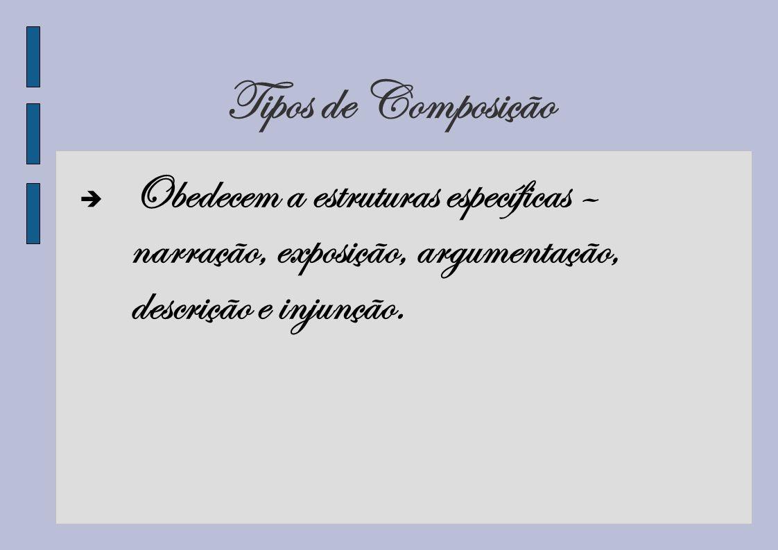 Tipos de ComposiçãoObedecem a estruturas específicas – narração, exposição, argumentação, descrição e injunção.