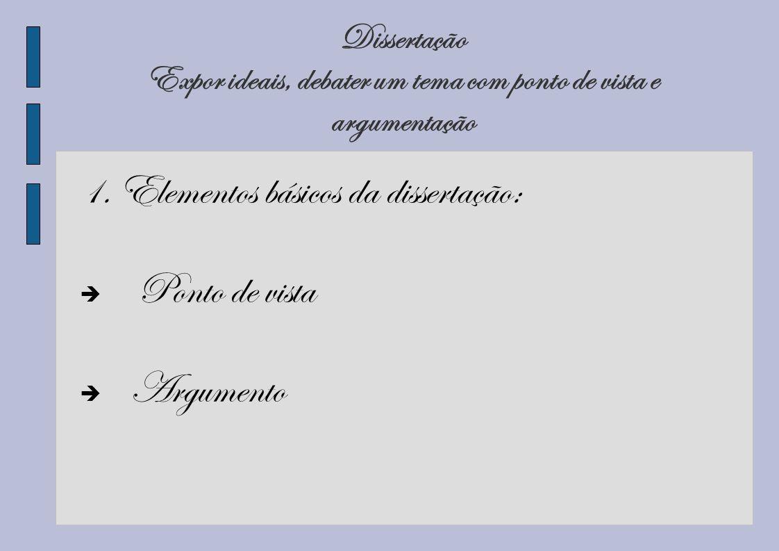 1. Elementos básicos da dissertação: Ponto de vista Argumento