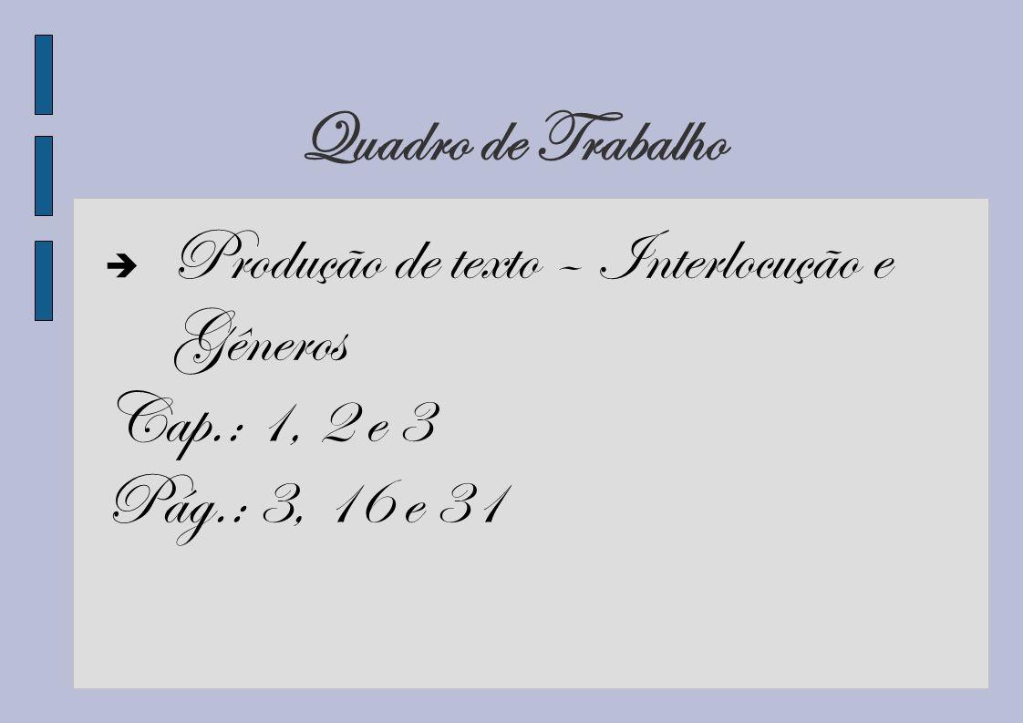 Quadro de Trabalho Produção de texto – Interlocução e Gêneros Cap.: 1, 2 e 3 Pág.: 3, 16 e 31
