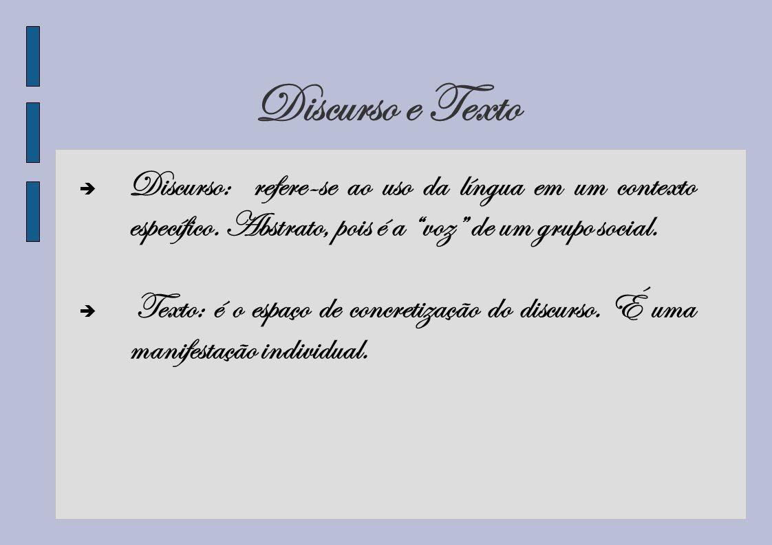 Discurso e TextoDiscurso: refere-se ao uso da língua em um contexto específico. Abstrato, pois é a voz de um grupo social.