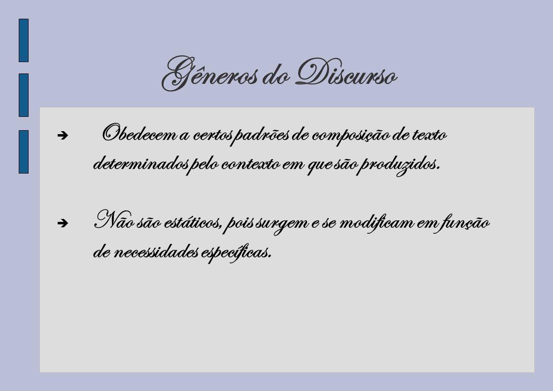 Gêneros do Discurso Obedecem a certos padrões de composição de texto determinados pelo contexto em que são produzidos.
