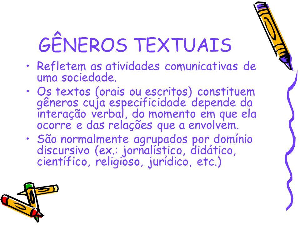 GÊNEROS TEXTUAIS Refletem as atividades comunicativas de uma sociedade.