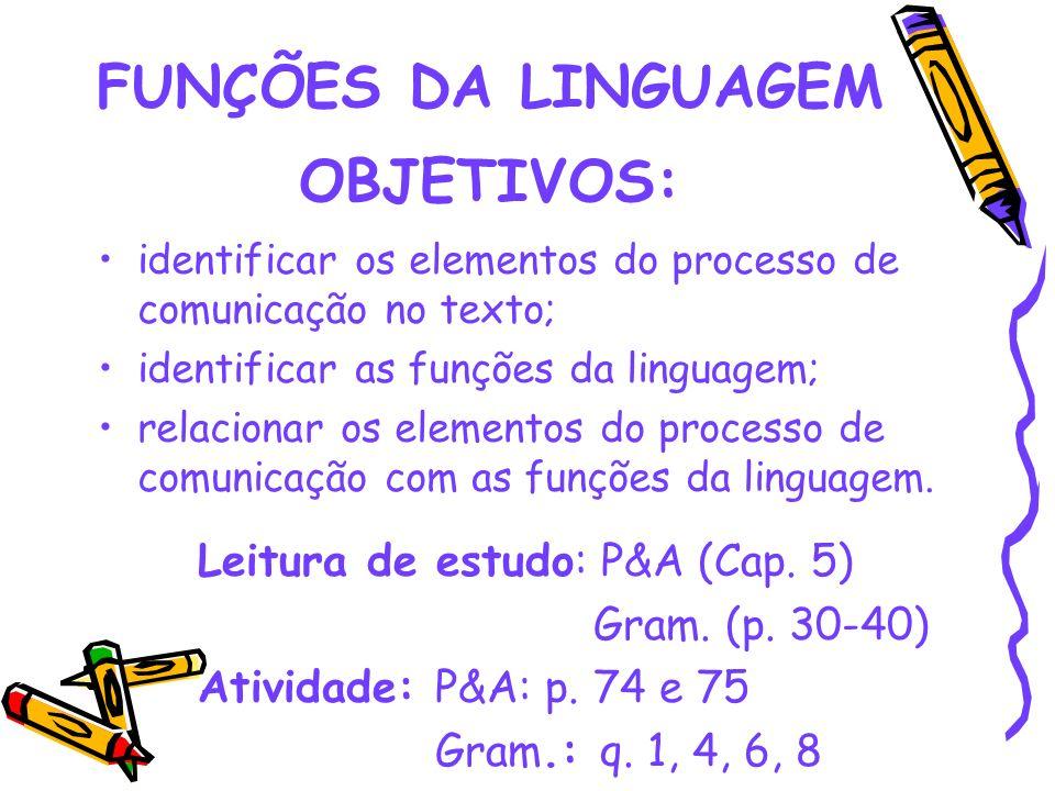 FUNÇÕES DA LINGUAGEM OBJETIVOS: