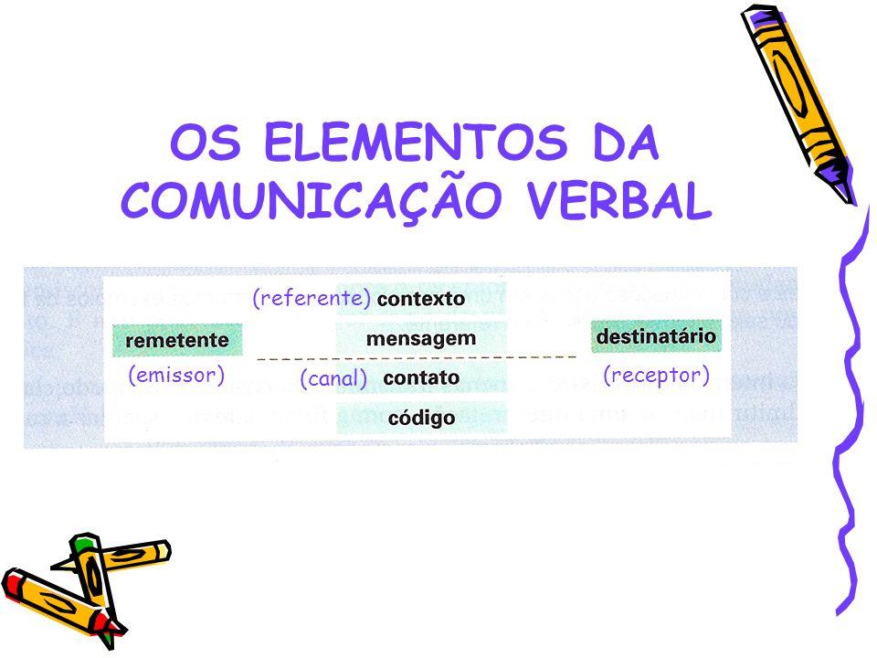 OS ELEMENTOS DA COMUNICAÇÃO VERBAL