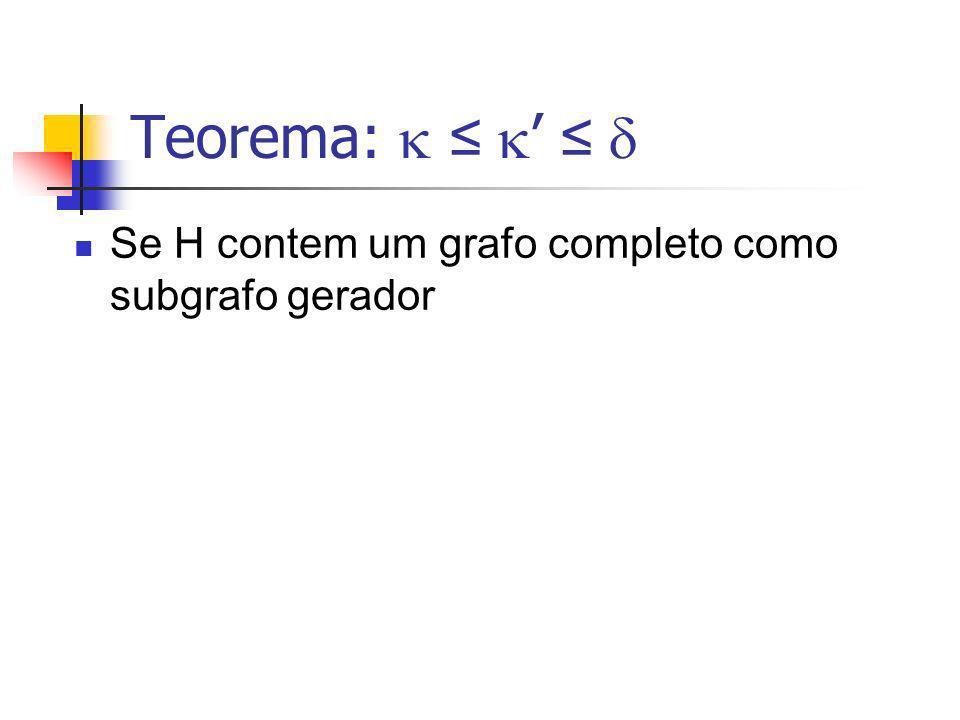 Teorema:  ≤ ' ≤  Se H contem um grafo completo como subgrafo gerador